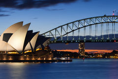 Sydney Opera House no crepúsculo Fotografia de Stock