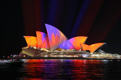Sydney Opera House in Orange and Purple colours for Vivid Royalty Free Stock Images