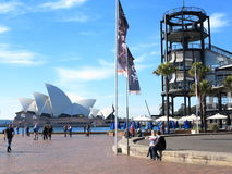 Sydney Opera House with Overseas Terminal. The Sydney Opera House with the viewing balcony of the Overseas Passenger Terminal - city life in Sydney Royalty Free Stock Images