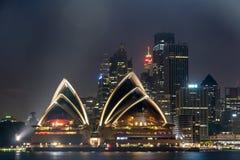 Sydney Opera House på natten, Arkivbild