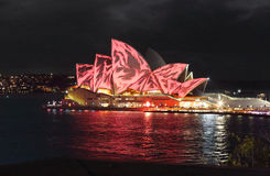 Sydney Opera House in red Stock Photos