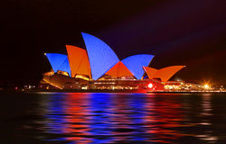 Sydney Opera House in Red and Blue Royalty Free Stock Images
