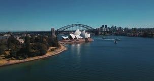Sydney Opera House-satellietbeeld van de helikopter stock footage