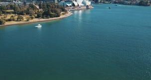 Sydney Opera House-satellietbeeld van de helikopter stock video