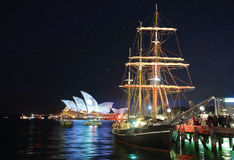 Sydney Opera House and Southern Swan during 'vivid Sydney Festiv Stock Photography