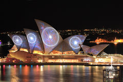 Sydney Opera House with space and swiring imagery during Vivid S Royalty Free Stock Photo