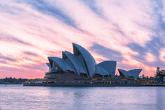 Sydney Opera House at sunrise in Sydney Australia. NOV 11,2016 The Sydney Opera House is a famous arts center.Over 10 millions tourists visit Sydney a year Royalty Free Stock Images