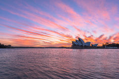 Sydney Opera House at sunrise in Sydney Australia. NOV 11,2016 The Sydney Opera House is a famous arts center.Over 10 millions tourists visit Sydney a year Stock Image