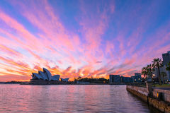 Sydney Opera House at sunrise in Sydney Australia. NOV 11,2016 The Sydney Opera House is a famous arts center.Over 10 millions tourists visit Sydney a year Stock Photo