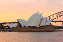 Sydney Opera House at sunset. Sydney Opera House  at sunset. Sep,13,2016.The Sydney Opera House,Sydney,Australia is famous art center.Over 10 millions tourists Stock Photos