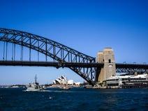 Sydney opera house and sydney harbour bridge Stock Images