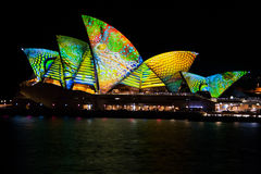 Sydney Opera House, Sydney, New South Wales, Australia. Sydney Opera House, Sydney Harbour, New South Wales, Australia, lit up during the Vivid Sydney Light show Royalty Free Stock Image