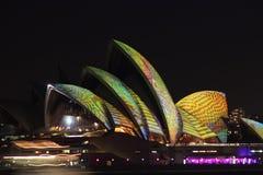 Sydney Opera House, Sydney vívido 2014 Foto de Stock Royalty Free