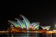 Sydney Opera House under festival designs Stock Image