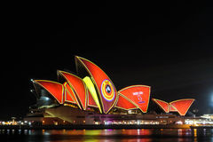 Sydney Opera House under festival designs Stock Images