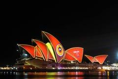 Sydney Opera House under festival designs Stock Images