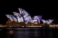 Sydney Opera House under festival lights. Stock Images