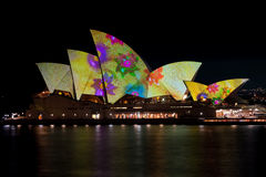 Sydney Opera House under festival lights. Royalty Free Stock Images