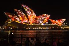 Sydney Opera House under livlig ljus festival Royaltyfri Foto