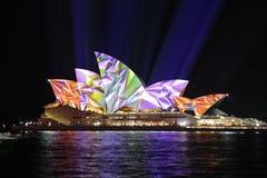 Sydney Opera House in vibrant geometric colours. SYDNEY, AUSTRALIA - JUNE 2, 2014; Sydney Opera House illuminated in geometric vibrant colour during Vivid Sydney Stock Photo