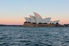 Sydney opera house  view with full moon at sunset. In Sydney,Australia.Oct 17,2016 Sydney Opera House is famous arts center. Over 10 millions tourists visit Stock Photography