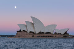 Sydney opera house  view with full moon at sunset. In Sydney,Australia.Oct 17,2016 Sydney Opera House is famous arts center. Over 10 millions tourists visit Stock Image