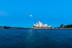 Sydney opera house  view with full moon at sunset. In Sydney,Australia.Oct 17,2016 Sydney Opera House is famous arts center. Over 10 millions tourists visit Stock Images