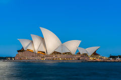 Sydney opera house  view with full moon at sunset Stock Images