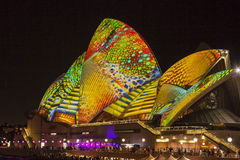 Sydney Opera House at VIVID Festival 2014 Stock Photography