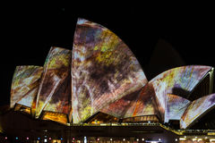 Sydney Opera House during Vivid festival 2014 Royalty Free Stock Photography