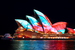 Sydney and Opera House  during Vivid Sydney Royalty Free Stock Photography