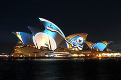 Sydney Opera House on Vivid Sydney Royalty Free Stock Photos