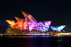 Sydney Opera House on Vivid Sydney Stock Photos