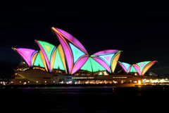 Sydney Opera House on Vivid Sydney Stock Photography