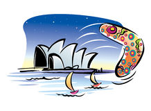 Sydney Opera House, Yacth and Beach Game. Vector illustration of Sydney Opera House, Yacth and Beach Game Stock Image