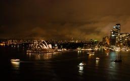 Sydney-Opernhaus nachts Stockfotografie