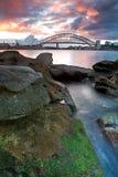 Sydney-Opernhaus- und Hafenbrücke Stockfotografie