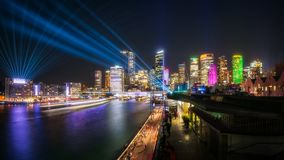 Interactive Laser Show during Vivid Sydney. Sydney Panorama at East Circular Quay during the Vivid Sydney Festival 2018. Vast play of light from Harbour Bridge Royalty Free Stock Image