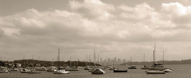 Sydney panorama, yacht harbor Stock Image