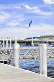 Sydney port. Port and flag in Sydney, Australia Royalty Free Stock Photo