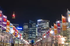 Pedestrian precinct Darling Harbour by night Stock Photos