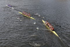 Sydney (Right), Stanford University Men's Crew (Middle), Washington (Top) races in the Head of Charles Regatta Men's Championship Stock Photos