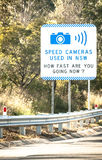Sydney Road Sign Stating SPEED CAMERAS USED IN NSW Stock Images