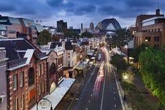Sydney The Rocks-Brücke vom Spitzensonnenuntergang Lizenzfreie Stockfotos