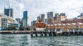 Sydney the Rocks cityscape with the ASN Co building and Campbell cove jetty in Sydney NSW Australia. 22nd December 2018, Sydney NSW Australia : Sydney the Rocks royalty free stock photos