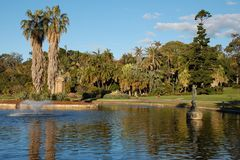 Sydney Royal Botanic Gardens lake with fountain Stock Image