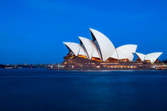 Sydney`s Opera House at blue hour Royalty Free Stock Images