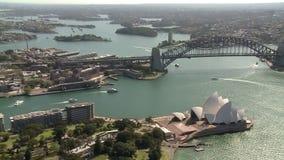 Sydney`s opera house and a long bridge