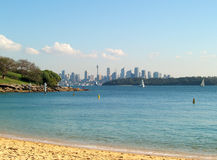 Sydney skyline. View from the beach with the Sydney skyline in the background Royalty Free Stock Photo