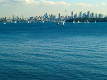Sydney skyline. In the background with a lot of small sailing boats in the water Stock Photos